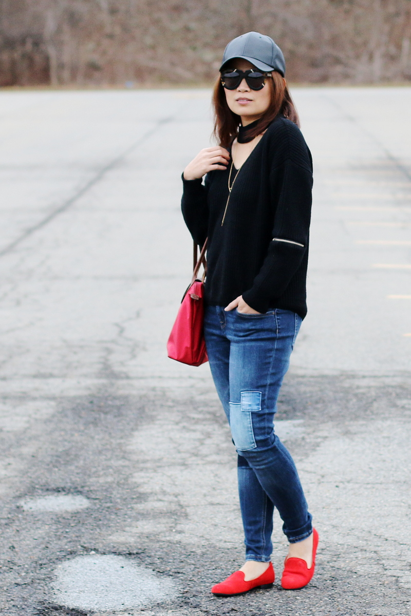 rhea-footwear-red-flats-choker-sweater-5