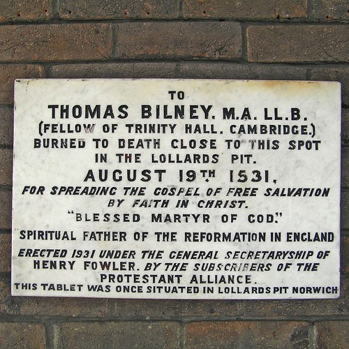 A Plaque Marking the Sport where Bilney Burned. Source.