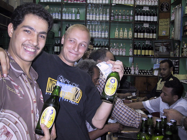 Carl buying alcohol in Cairo, Egypt