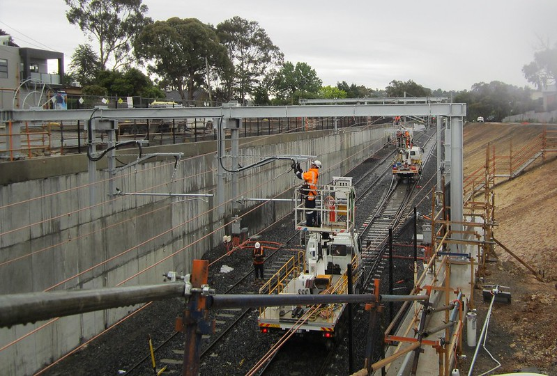 Bayswater level crossing removal: looking NW from shared user bridge