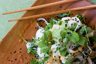 Pea Tendril and Daikon Noodle Salad with Sesame Soy Dressing | by teenytinyturkey