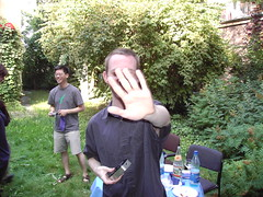 Matt hiding behind his hand | by Schnittke