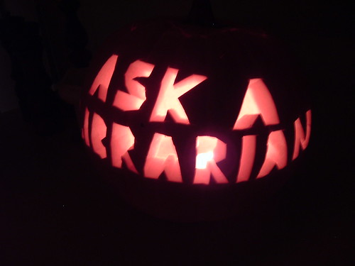 Ask a librarian pumpkin - with candles | by CliffLandis