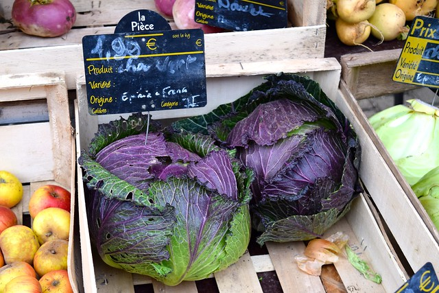 Purple Cabbages at Combourg Market, Brittany | www.rachelphipps.com @rachelphipps