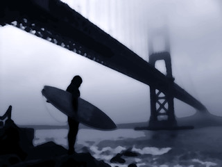 Surfer At Fort Point | by Dawn Endico