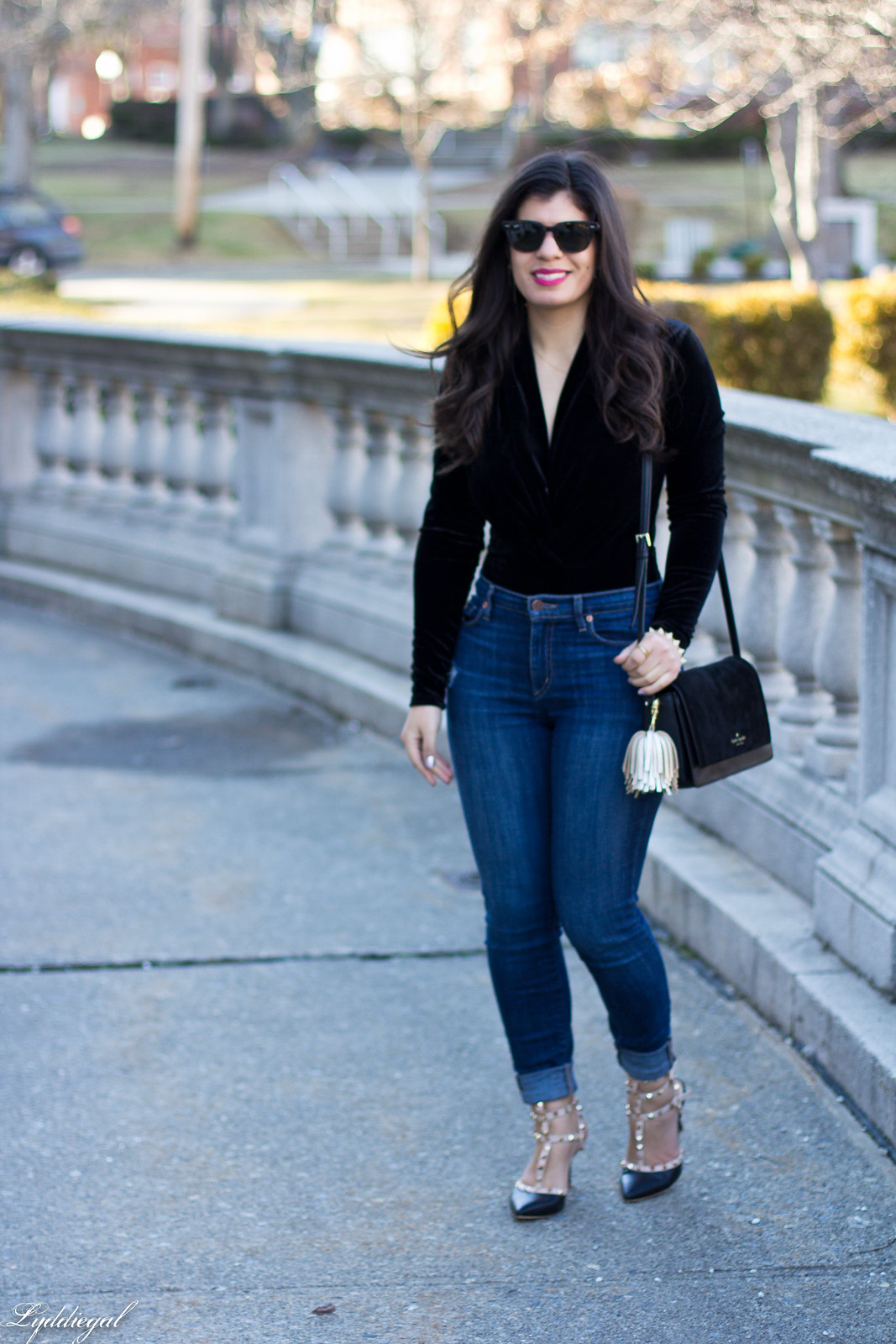 velvet bodysuit, studded pumps, kate spade bag.jpg