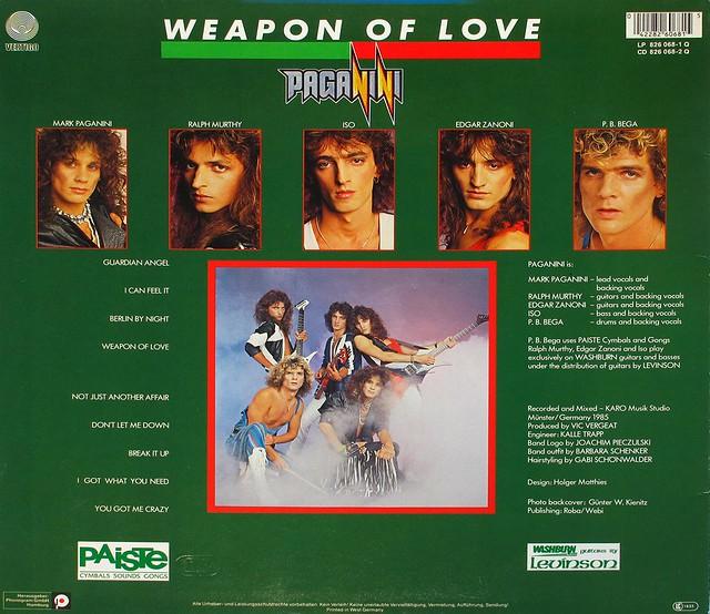"PAGANINI WEAPON OF LOVE Lyrics Sleeve 12"" vinyl Lp"