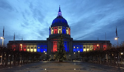 SF City Hall in red white & blue