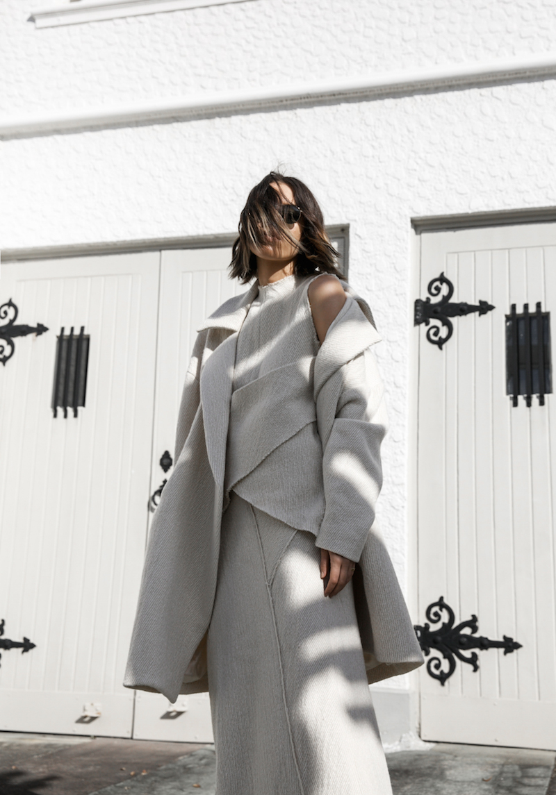 all white ivory minimal outfit street style inspo fashion blogger charlie may gucci princetown fur loafers winter coat modern legacy (3 of 16)
