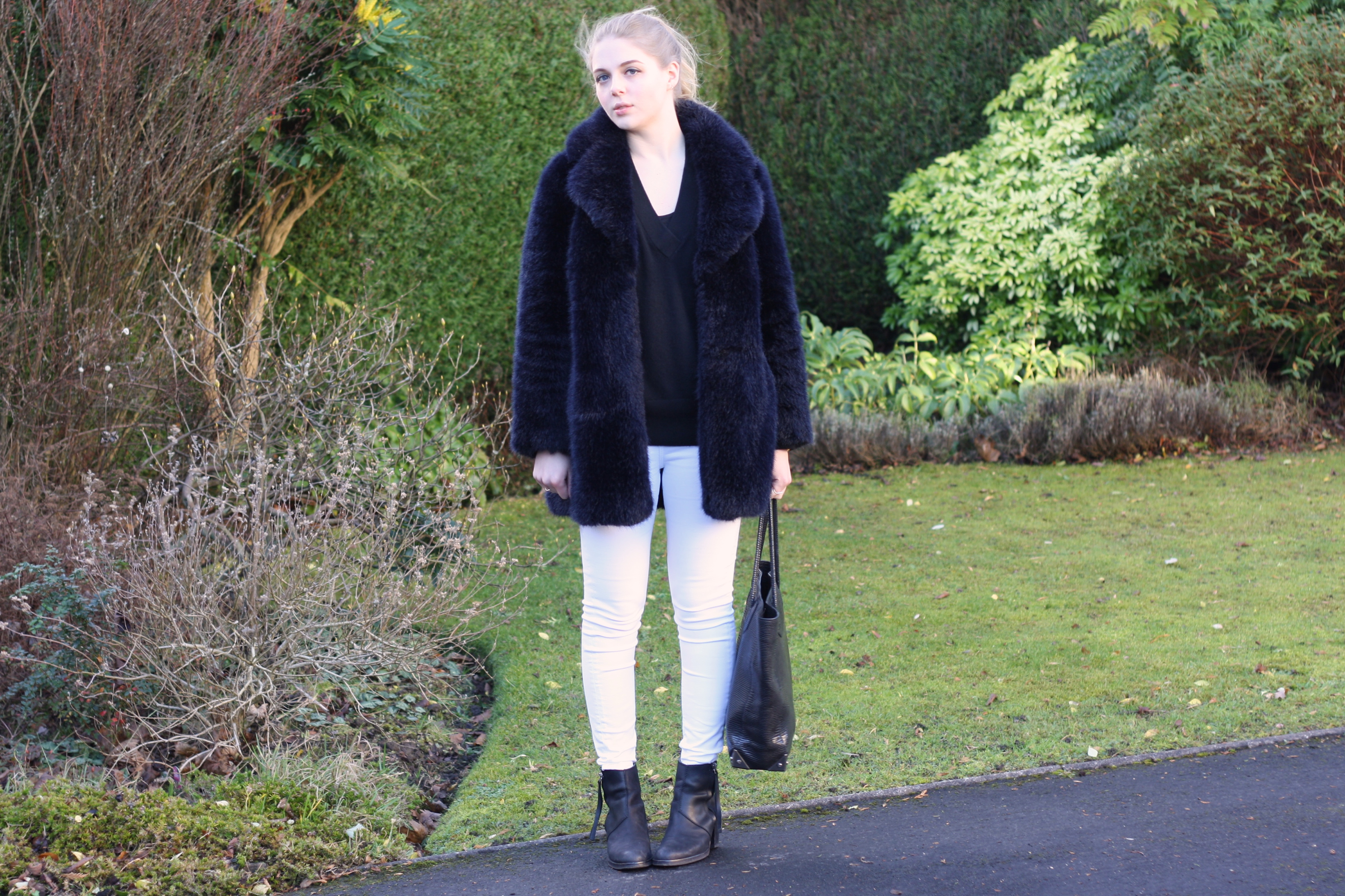 Whistles navy faur fur jacket, & Other Stories black cashmere jumper and Acne Pistol boots