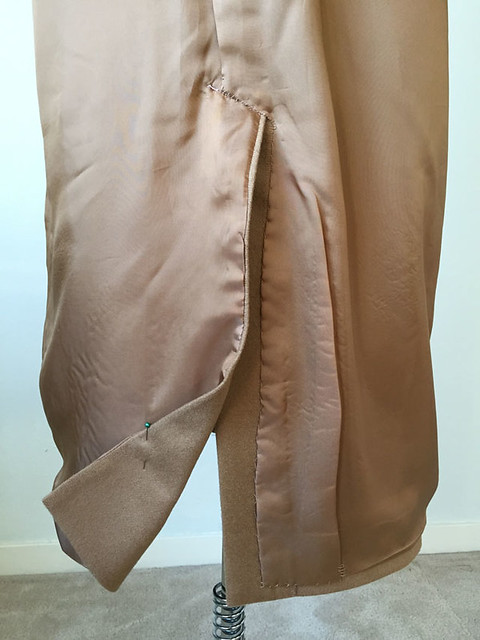 camel coat inside back vent lining