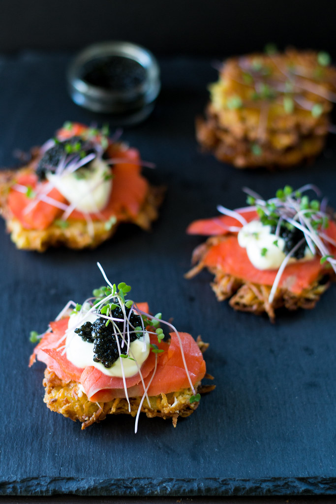 Parsnip Latkes with Caviar