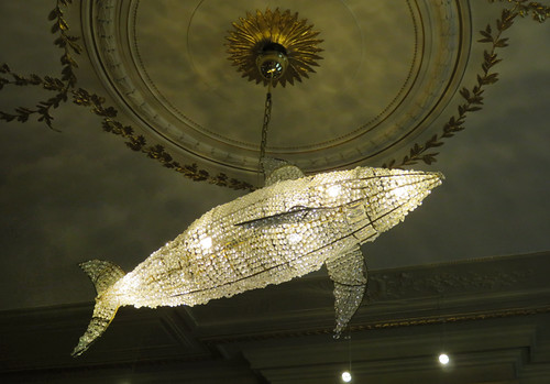 A shark chandelier in the Escher Museum in Den Haag, Holland
