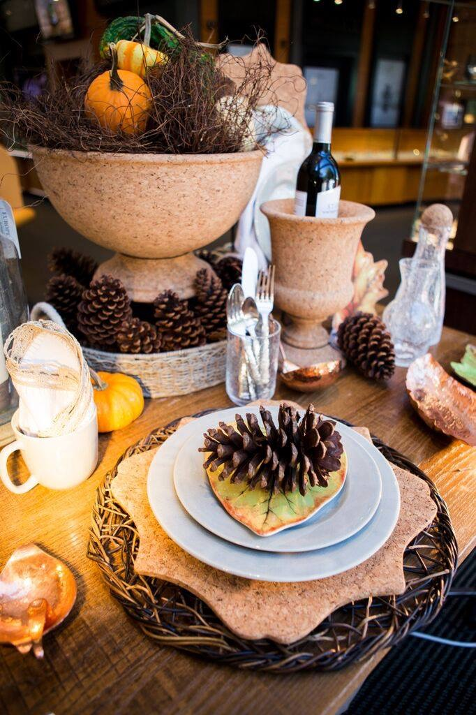 Rustic Cork Brown Wicker Chargers | Pine Cone Table Settings | Holiday Table Idea