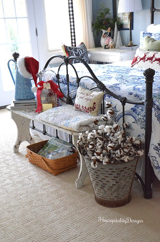 Guest Room-Blue and White-Antique Bench-Cotton-Christmas-Housepitality Designs