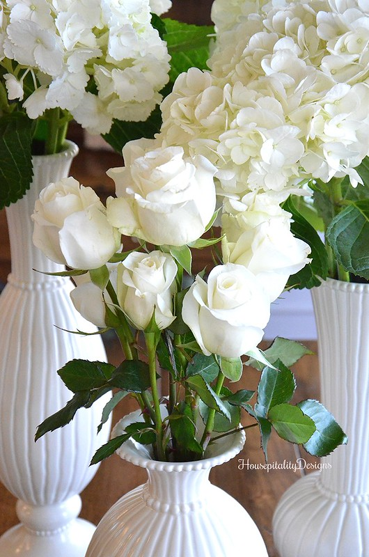 White Hydrangeas-White Roses-Housepitality Designs