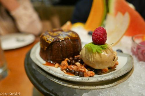 Warm Chocolate Cake with Coffee Ice Cream, Caramel Sauce, Caramelized ...