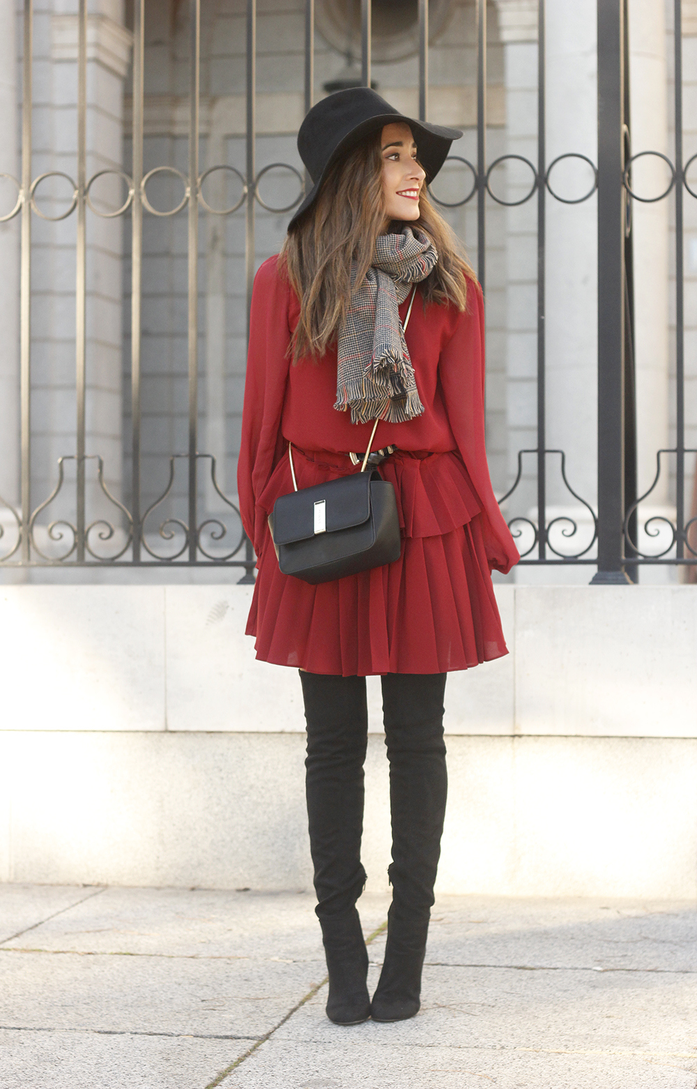 red dress black hat scarf over the knee boots Autumn essentials outfit style fashion fall01