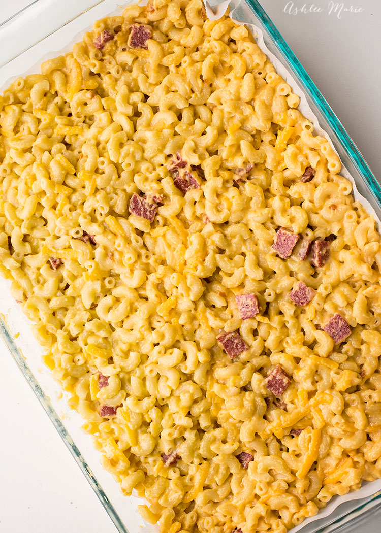 once you make your mac and cheese time to add the summer sausage, extra cheese and freeze it to be cut up and fried later