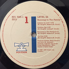 LEVEL 42:RUNNING IN THE FAMILY(LABEL SIDE-A)