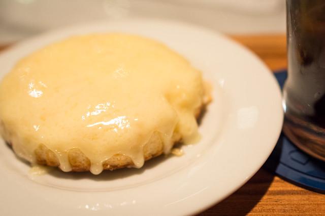 デンマークチーズケーキのチーズがとろけた写真