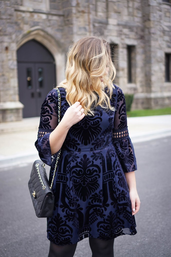 Eliza J Embroidered Poet Sleeve Blue Velvet Dress | Holiday Party Outfit