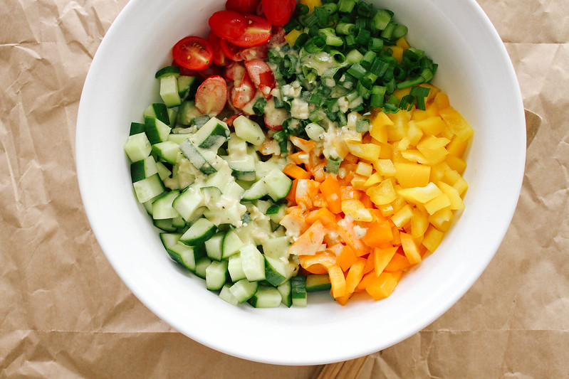 CHOPPED VEGETABLE SALAD + GARLIC DRESSING