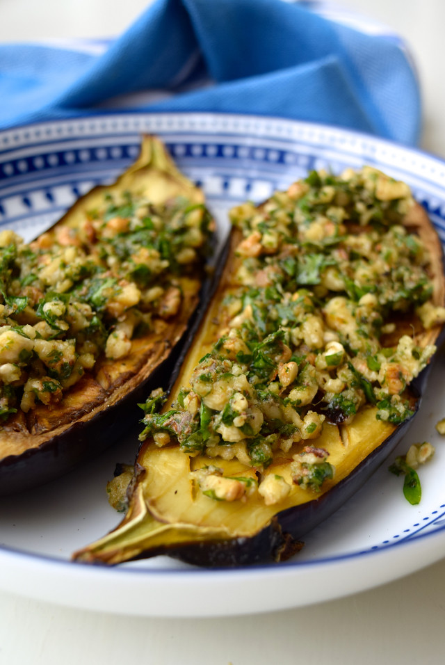Roast Aubergine with Anchovy, Walnuts and Parsley | www.rachelphipps.com @rachelphipps