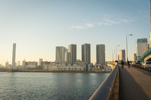 夕暮れの豊洲大橋の写真