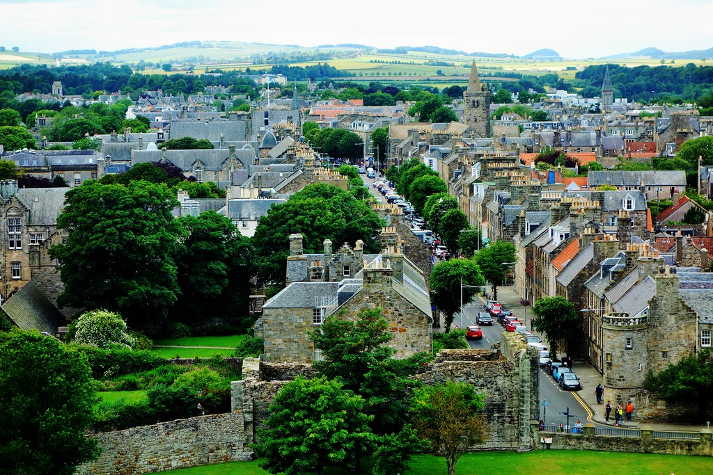 Aerial view of St Andrews, fife, Scotland.