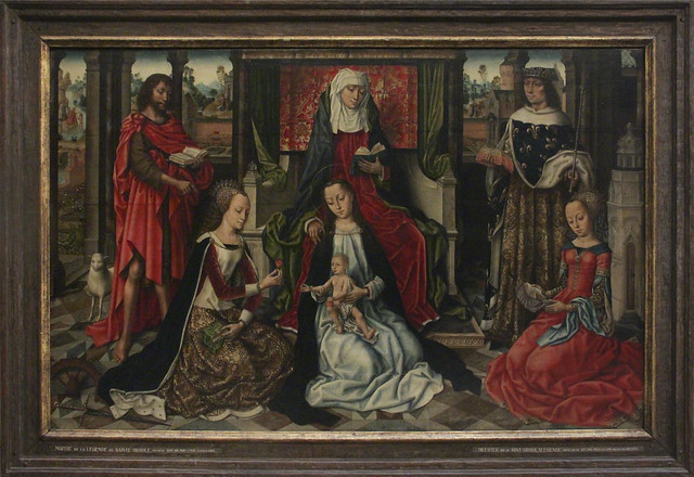 St. Virgin and Child with Saint Anne surrounded by Saint John the Baptist, Louis, Catherine and Barbara, the Ursula Legend Master,late 15th century