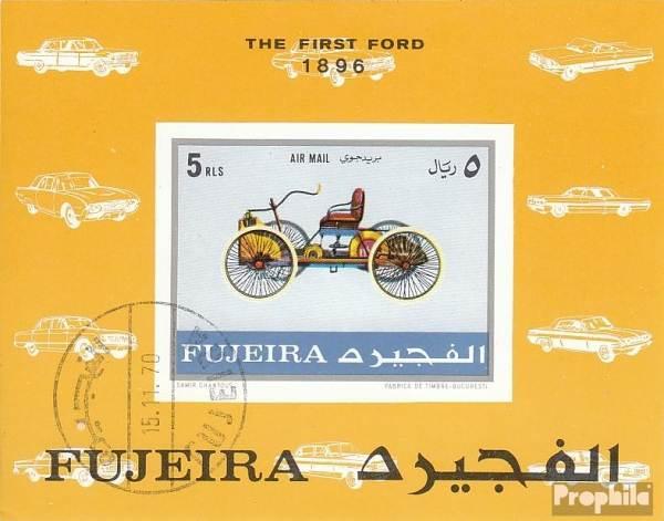 Známky Fujeira 1971 Prvé auto Ford, razítkovaný hárček
