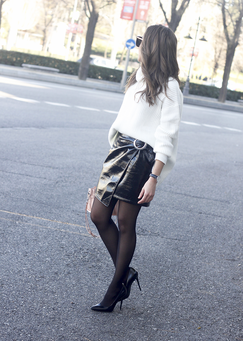 Black Patent leather skirt white sweater coach bag heels outfit style fashion winter07