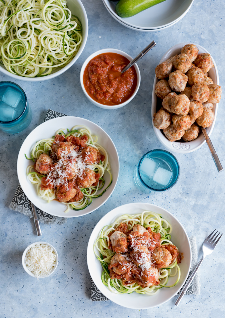 Comfort Food Lightened Up - Zoodles And Meatballs with Spicy Marinara Sauce www.pineappleandcoconut.com #AD #WorldMarketTribe #DiscoverWorldMarket