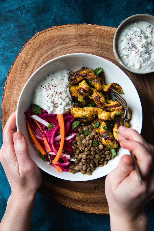 Chicken Shawarma Bowl with Lentils, Pickled Veggies, and Garlic Yogurt Sauce (Gluten-Free) | Will Cook For Friends