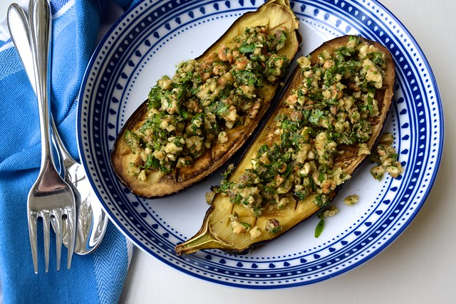 Roast Aubergine with Anchovies, Walnuts and Parsley | www.rachelphipps.com @rachelphipps