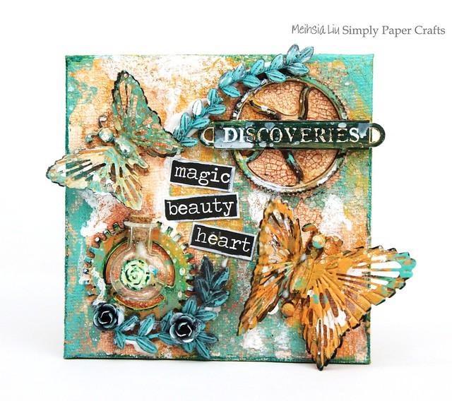 Mehsia Liu Simply paper Crafts Mixed Media square canvas Simon Says Stamp Prima Flowers 1