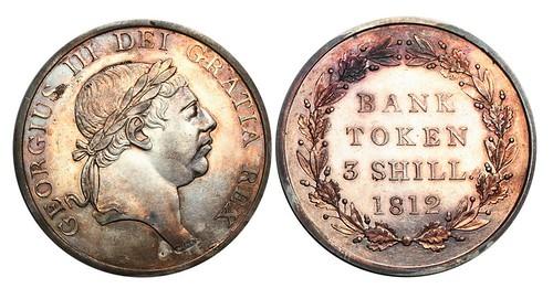 1812 three shillings bank token
