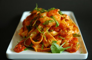 Spaghetti with jumbo prawns and rucola | by MeetaK