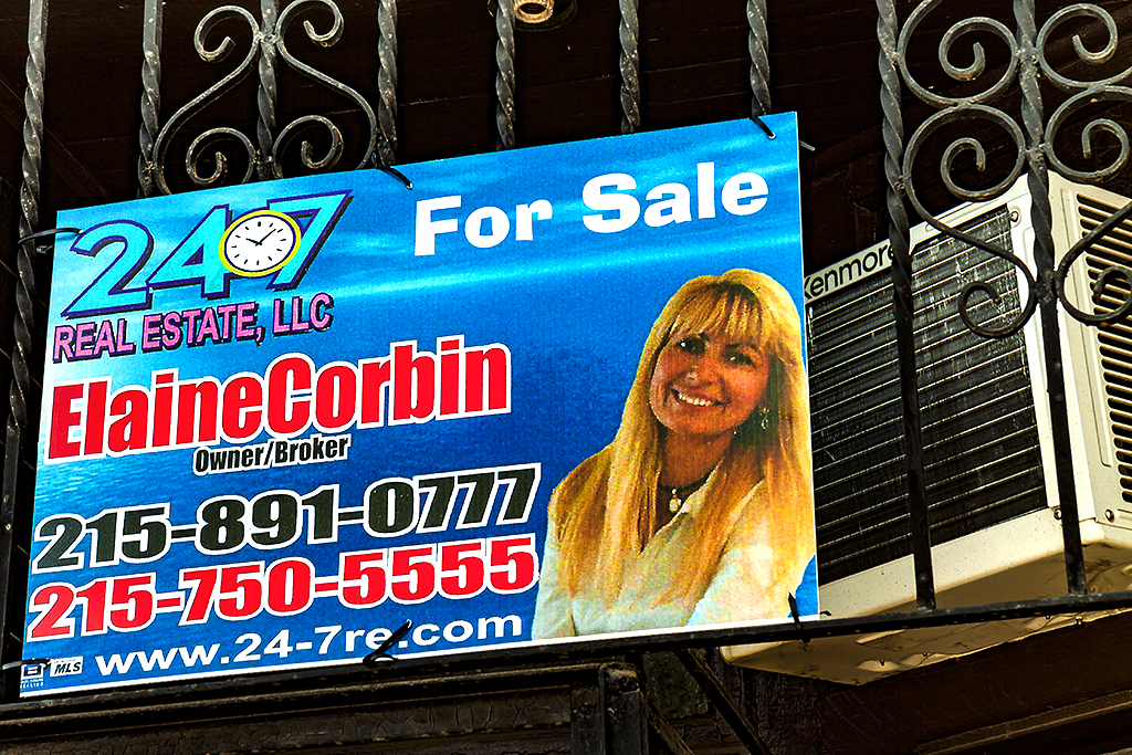 Real estate for sale sign on 8-3-15--Fishtown