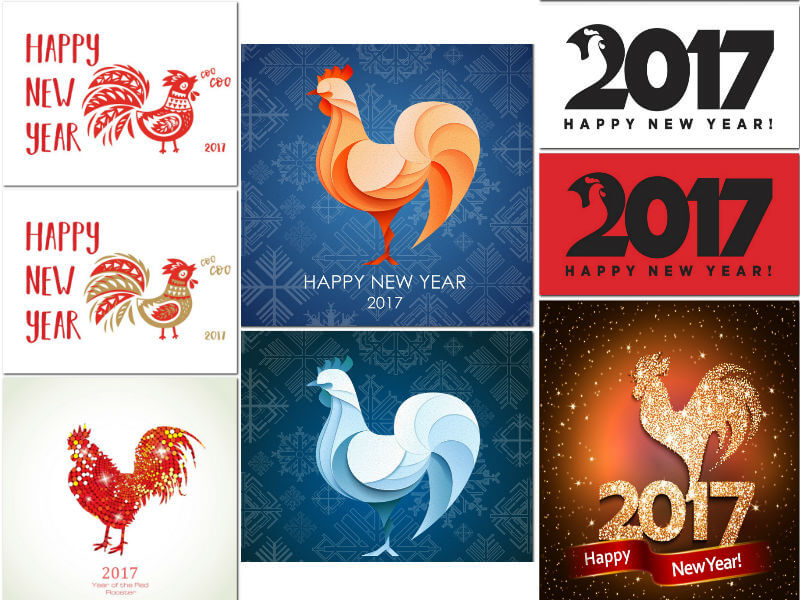 The new design of 2017 fire rooster (.eps .jpg)