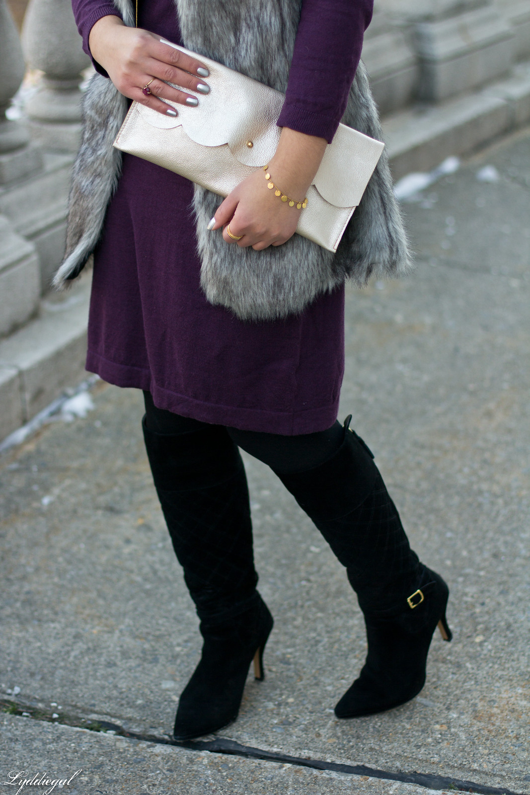 Swap Burgundy Sweater Dress, fur vest, matine clutch-4.jpg