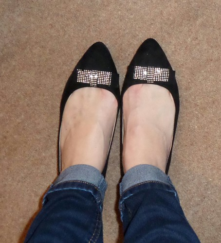 Matalan flat sparkle bow shoes