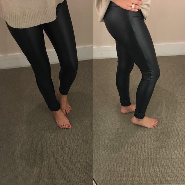 LOFT Bi-Stretch Faux Leather Leggings, size 0 regular