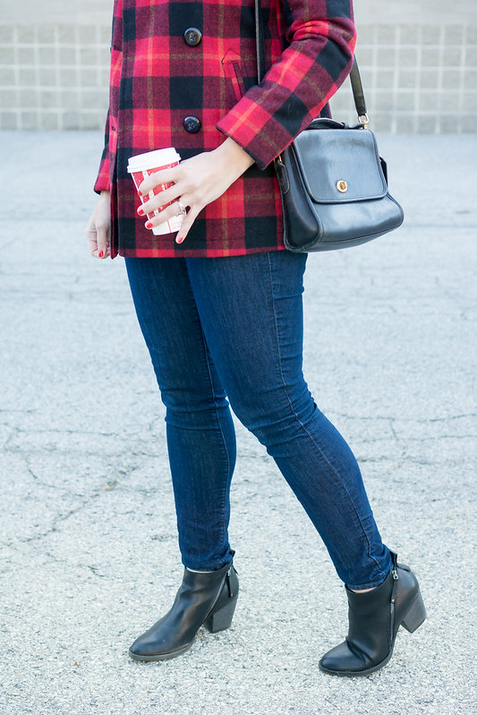 buffalo plaid jacket + gray cable knit sweater + jeans + ankle boots | Style On Target blog