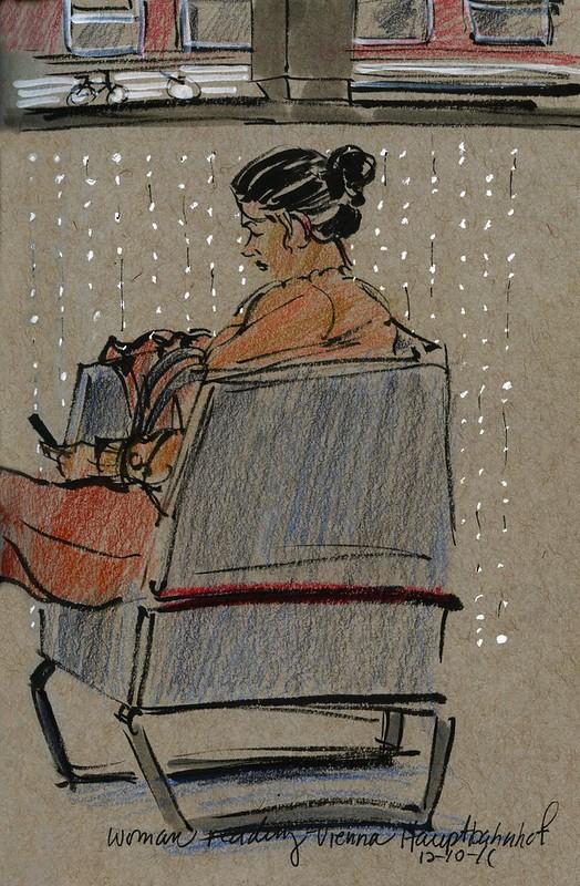 Vienna Hauptbahnhof, woman reading