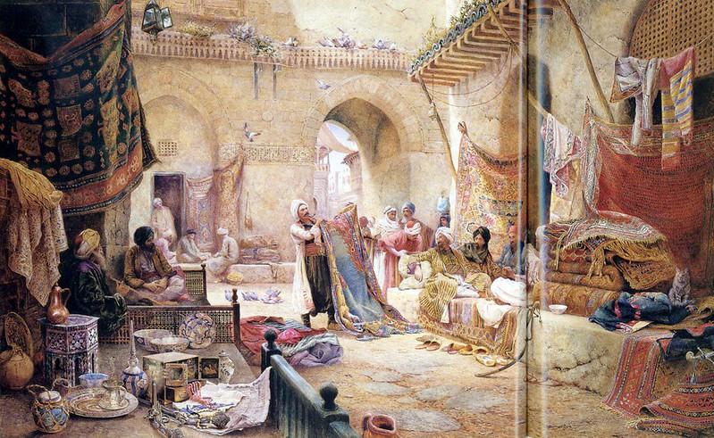 halı pazarı, minyatür, matrakçı nasuh, orientalist oil painting arts, selanik, kahvehane, kahve ticareti, osmanlı kahvesi, yemen kahvesi, mırra, Isparta, Ayfer Aytaç, ayferaytac.com