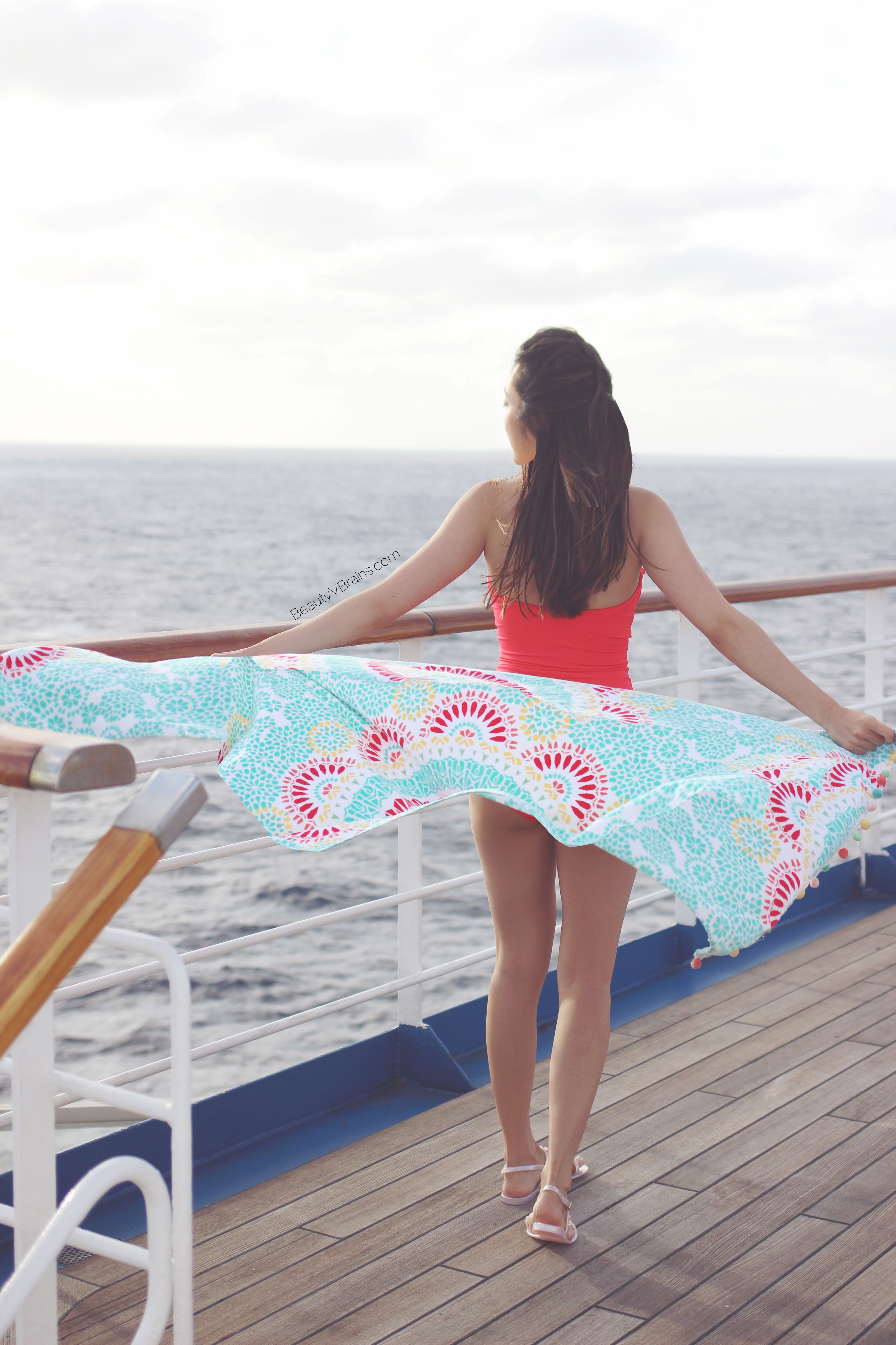 Red Kate Spade maillot on Carnival cruise Freedom
