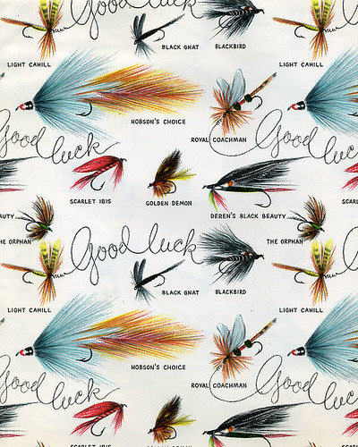 Fly fishing good luck gift wrap dan goodsell flickr for Fish wrapping paper