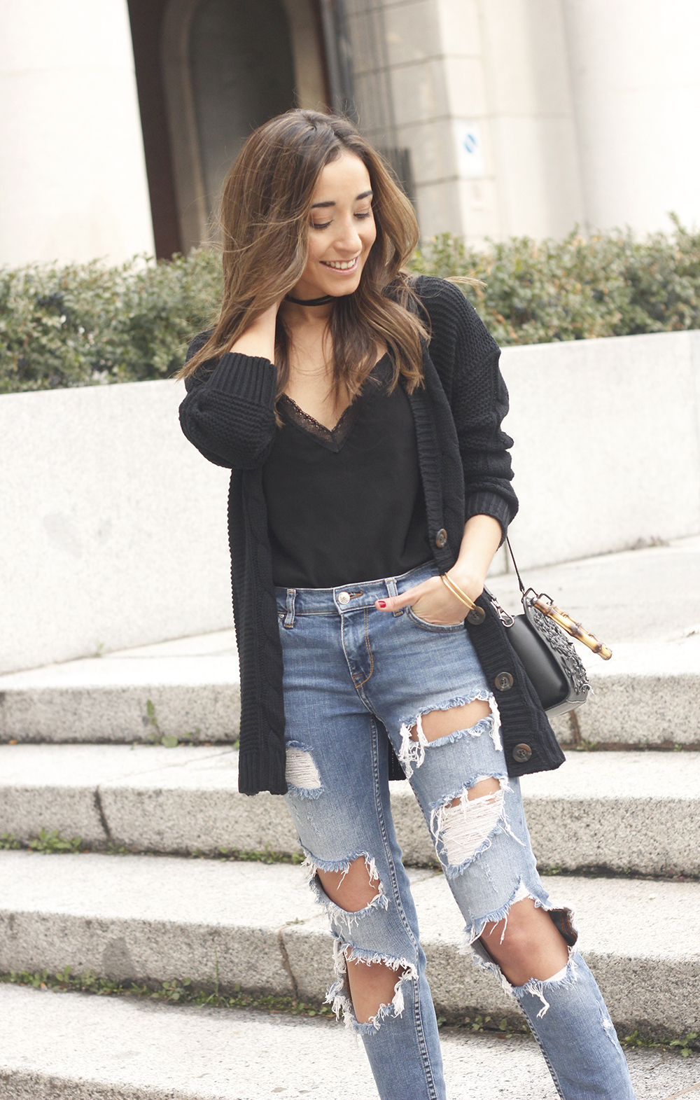 black lace top ripped jeans black cardigan uterqüe bag accessories outfit style fashion heels16